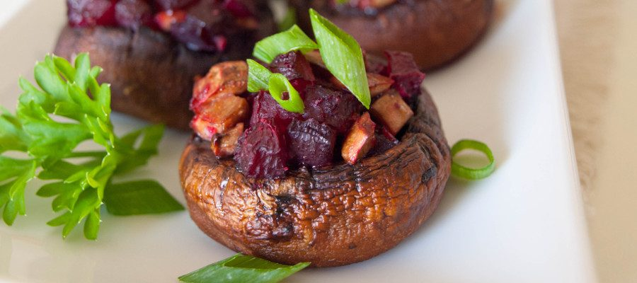 Beet Stuffed Mushrooms