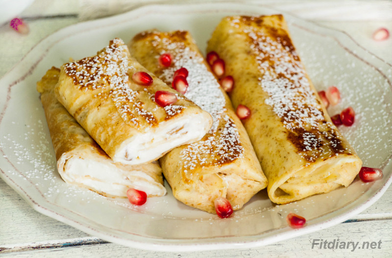 Crepes With Cottage Cheese Filling Excellent Healthy And