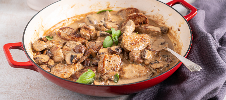 Pork Tenderloin Medallions in Mushroom Sauce – easy one pot dinner in 30 minutes