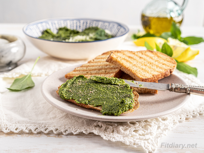 Homemade Basil Pesto – healthy, easy, lower in calories recipe