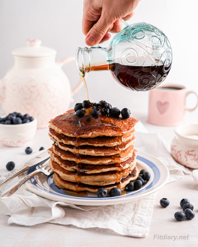 Healthy Blueberry Pancakes - easy to make recipe with simple ingredients