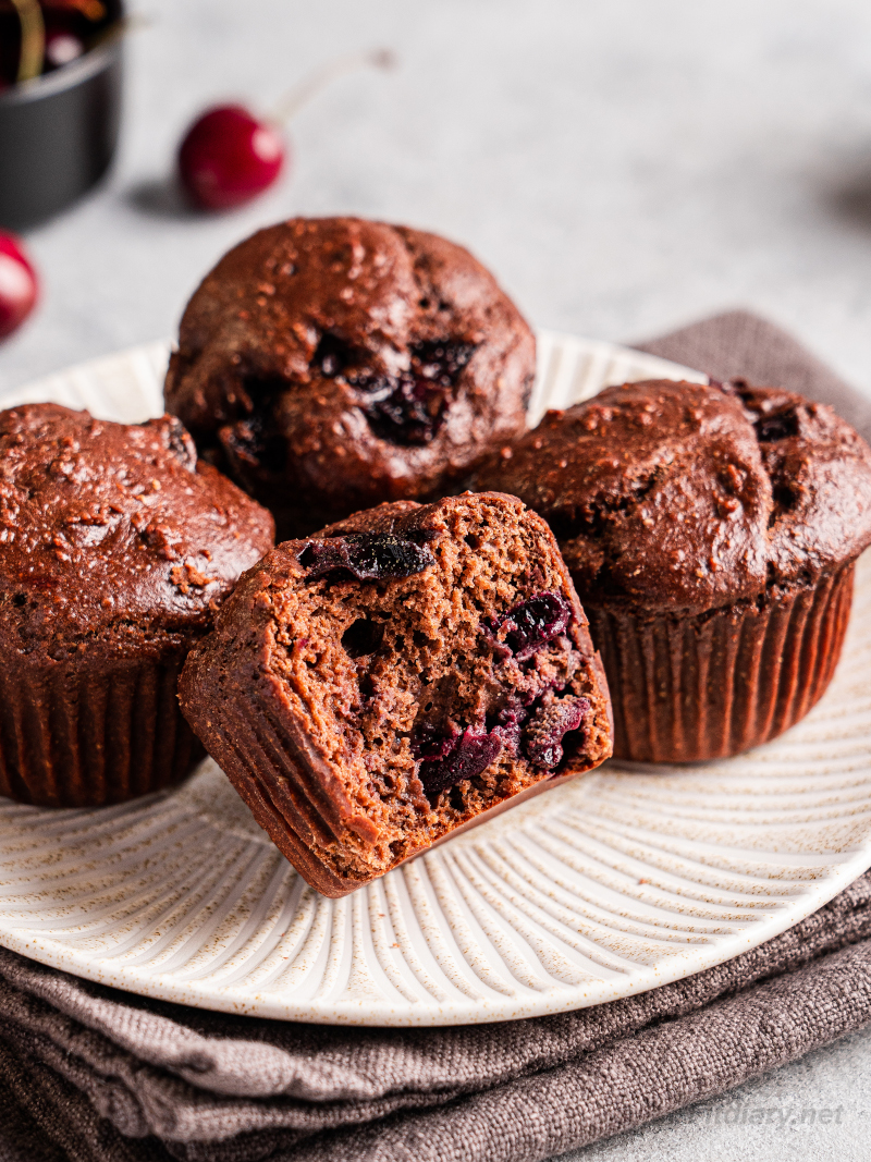 Chocolate Cherry Protein Muffins – under 200 calories, healthy, nutrition and protein packed muffin recipe